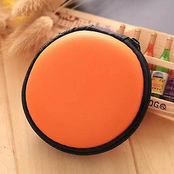 Organizador de cabos USB portátil - Hard Round Shape Zippered Earphone Case/fone de ouvido