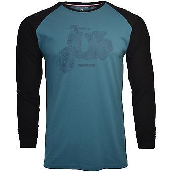 Lambretta Herren Scooter Raglan Ärmel Casual Retro T-shirt T-Shirt Top Wandteppich blau