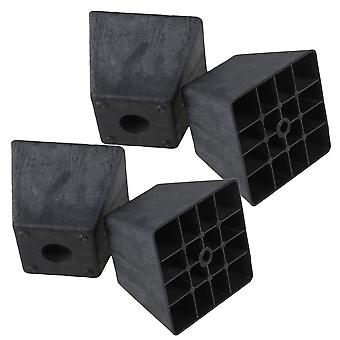 4pcs 98*98*80mm Black Trapezoid Furniture Foot Sofa Chair Foot