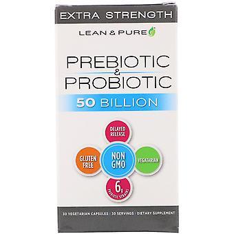 Lean & Pure, Prebiotic & Probiotic Complete, Extra Strength, 50 Billion, 30 Vege