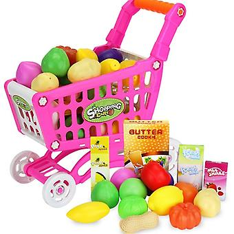 16pcs Shopping Trolley Cart Supermarket Trolley Push Car Toys Basket- Mini Simulation Fruit Food Pretend Play For Children