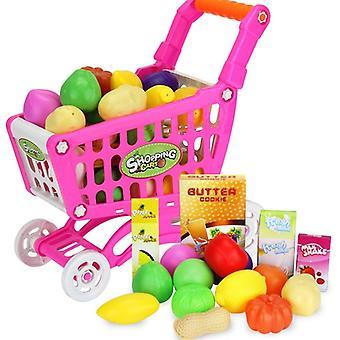 16pcs קניות עגלת עגלות סופרמרקט עגלה לדחוף מכונית צעצועים סל- מיני סימולציה פירות מזון להעמיד פנים לשחק לילדים