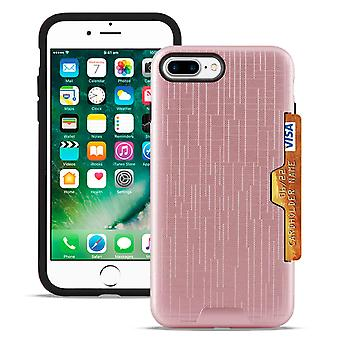2-piece cover with card compartment for Apple iPhone 7 Plus/8 Plus Hard Hybrid Rose Gold