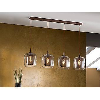 4 Licht kristal opknoping plafond mesh hanger bruin, E27