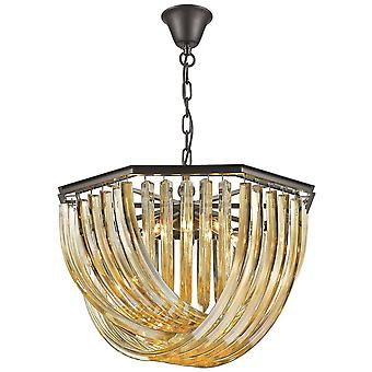 5 Light Ceiling Pendant Black Chrome, Champagne gold with Crystals, E14