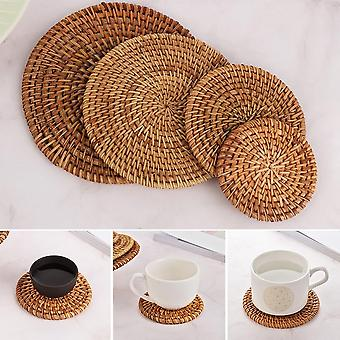 Round Natural Rattan Coasters Bowl Pad - Handmade Insulation Placemats Table