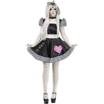 Womens Scary Doll Black And White Cosplay Halloween Fancy Dress Costume