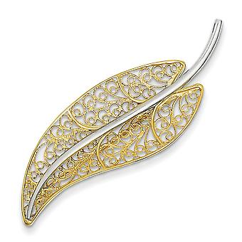 14k Two Tone Polished Gold Filigree Leaf Pin Jewelry Gifts for Women - 3.5 Grams