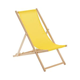 Traditional Adjustable Wooden Beach Garden Deck Chair - Yellow