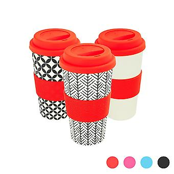 Reusable Coffee Cups - Bamboo Fibre Travel Mugs with Silicone Lid, Sleeve - 400ml (14oz) - 3 Patterns - Red - x6