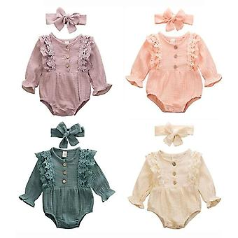 Newborn Kids Clothes Warm Cotton Linen Button Ruffled Jumpsuit