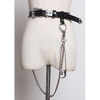 Chain Detail Western Style Buckle Leather Belt Black
