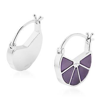 Isabella Liu Dance of Ginkgo-Purple Jade Hoop Earrings in Rhodium Plated Silver