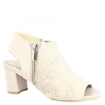 ليوناردو أحذية المرأة & apos;ق الأحذية الكاحل فتح القدمين في جلد العجل توب مع إغلاق الرمز البريدي الجانب