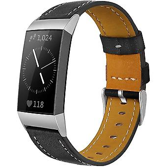 for Fitbit Charge 4 & Charge 3 Band Luxury Genuine Leather Replacement Wristband[Black]