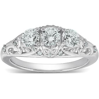 1ct Three Stone Vintage Engagement Unique Ring With Accents 14k White Gold