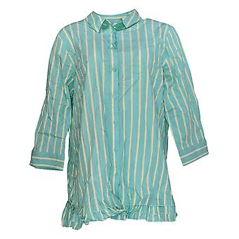 Joan Rivers Classics Collection Women's Top Striped 3/4 Sleeve Blue A351488