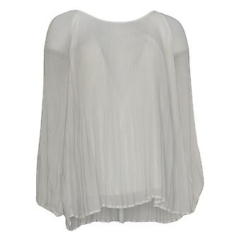 Laurie Felt Women's Top Pleated Chiffon White A347217