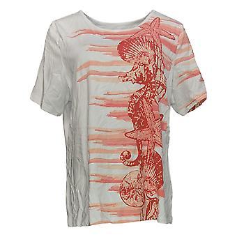 Denim & Co. Women's Top Printed Short-Sleeve Orange A354142