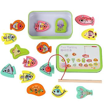 Wooden Magnetic Educational Fishing Toy Set, Outdoor Game Fish Parent-child