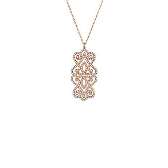 Large Pink Regal Rose CZ Bridal Wedding Statement Rose Gold Pendant Necklace