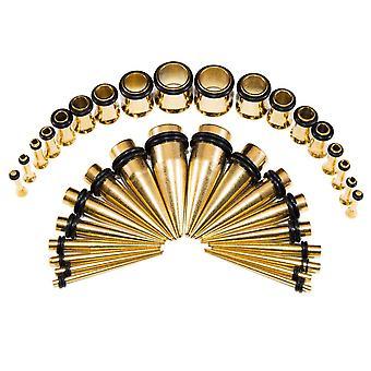 36 قطعة الأذن تمتد مجموعة أيونات مطلي الذهب المدق & amp; ; المقابس 14g-00g