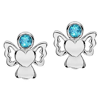 Jo For Girls Sterling Silver December Simulated Birthstone Angel Stud Earrings