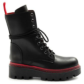 Women's Amphibians Zoe Black Leather With Maxi Sole and Red Guardolo