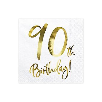90th Birthday Paper Party Napkins Gold and White x 20