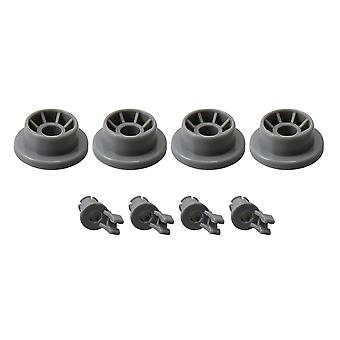 4PCS Gray Dishwasher Lower Dishrack Roller Wheels Set Replace 165314