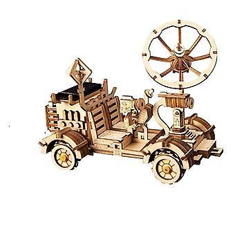 Diy Solar Energy Wooden Blocks Toys, Model Building Kit