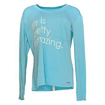 Peace Love World Women's Top Long Sleeve Affirmation T-Shirt Blue A288637