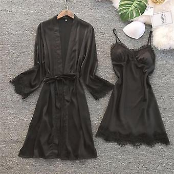 Frauen Seide Robe Kleid Set Sommer Sexy Spitze Sleepwear Kleid elegante Pyjamas