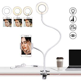 Flexible Usb Table Desk Light With Led Ring, Tabletop Stand And Flash Lamp