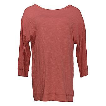Denim & Co. Women's Top Jersey Round Neck Drop Shoulder Tunic Red A383280