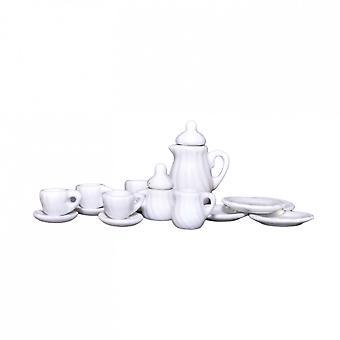 Dolls House Valkoinen Kahvipannu & Mukit Setti Miniature Kitchen Cafe Ruokailutarvikkeet