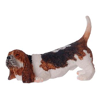 Dolls House Basset Hound Sniffing Miniature Pet Dog 1:12 Scala