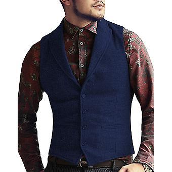 Mens Suit Vest V Neck, Wool Herringbone, Casual Formal Business Waistcoat