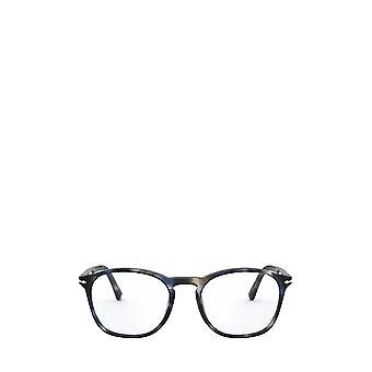 Persol PO3007VM raidallinen sininen & harmaa uros silmälasit