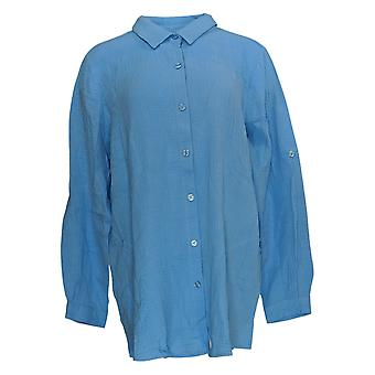 Joan Rivers Classics Collection Kvinder's Top Crinkle Shirt Blå A351489