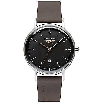 Bauhaus Men's Grey Italian Leather Strap | Black Dial 2142-2 Watch