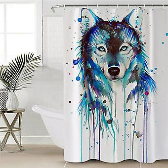 Rideau bleu de douche de loup d'aquarelle