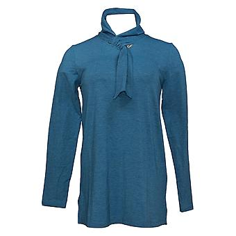 Cuddl Duds Women's Top Brushed Knit Scarf Neck Tunic Blue A381709