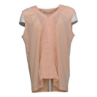 DG2 By Diane Gilman Women's Top Mixed Media V Neck Shell Pink 648-483