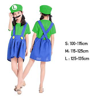 Super Brothers Halloween Kids Cosplay Costume Mario Brothers