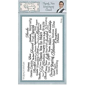 Sentimentally Yours Thank you Sentiment Cloud Rubber Stamp