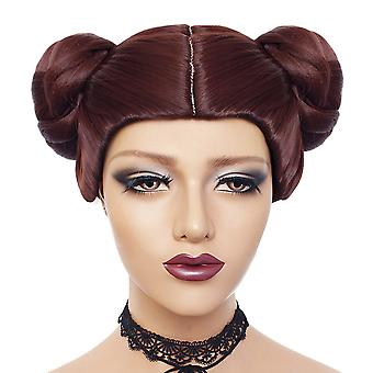 Star Wars Cosplay Wigs Princess Leia Double Buns Synthetic Hair Wigs