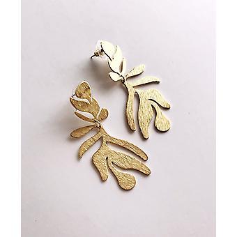 Frond Earrings - Brushed Brass