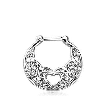Filigree Heart Design Septum Clicker