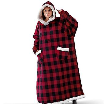 Couple Pajamas, Extended Vertical Pockets, Stand-up Collar Hooded Flannel Fleece